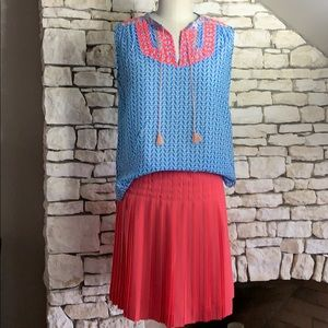 Bright Coral and Blue Outfit!